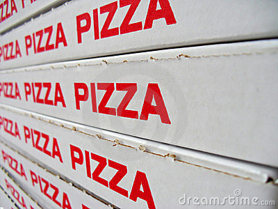 Stack of pizza boxes