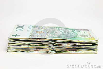 Stack of polish 100 pln banknotes isolated