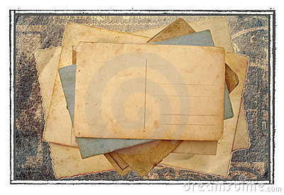 Stack of postcards, photos