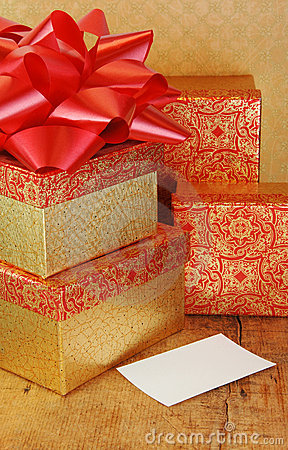Stack of Presents in Gold and Red