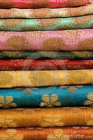 Stack of printed Indian silk