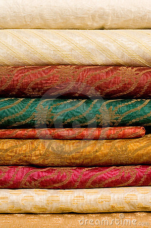 Stack of printed silk fabrics