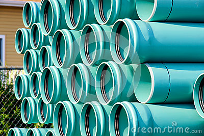 Stack of PVC water pipes