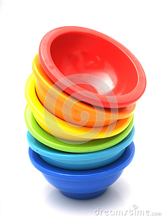 Stack of rainbow bowls