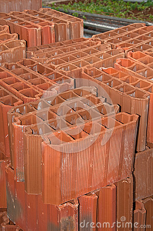 Stack of Red Clay Brick