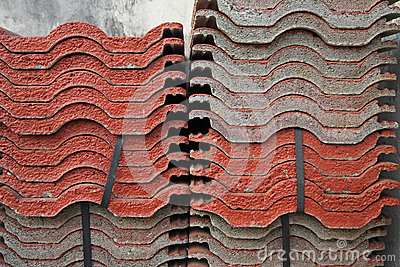 Stack of red tiles for construction