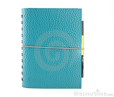 Stack of ring binder blue leather notebook