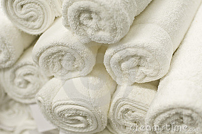 Stack of Rolled White Towels