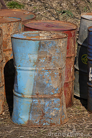 Stack of rusting barrels