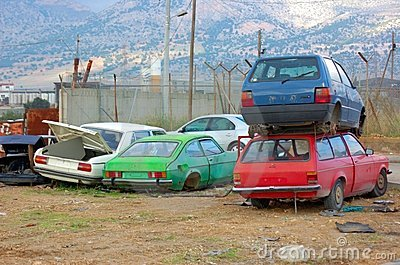 Stack of rusty cars