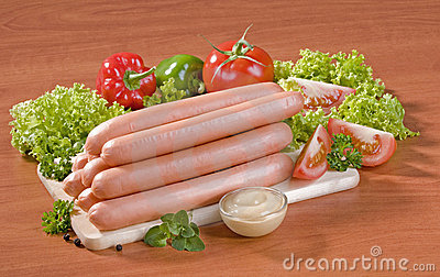 Stack of sausages