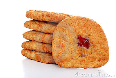 stack of soft chewy strawberry filled cookies