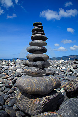 Stack of stones on the beach, Lipe, Thailand