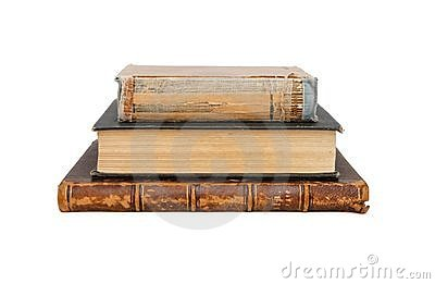 Stack of three old books isolated
