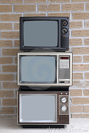 Stack of three TV sets