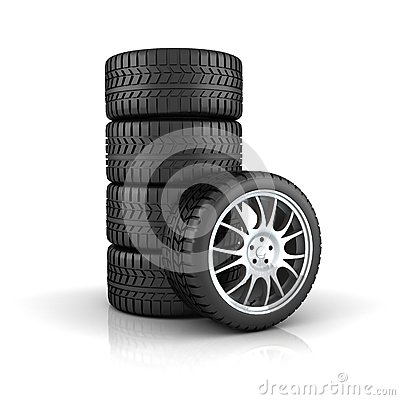 Stack of tires with alloy wheels