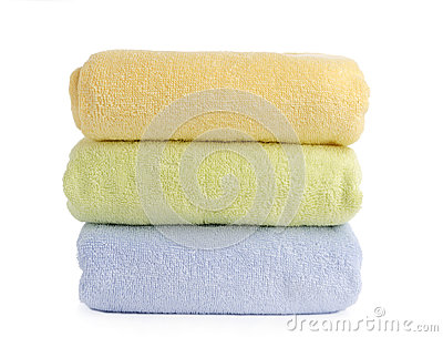 Stack of towels isolated on white