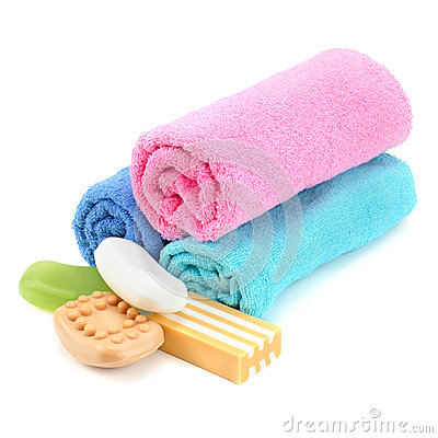 Stack of towels and soap