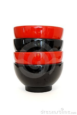 Stack of two red and two black porcelain bowls iso