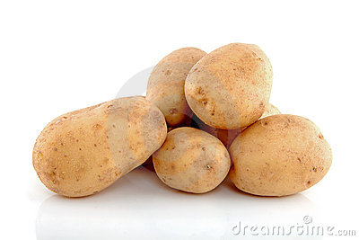 Stack of unpeeled potatoes