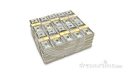 Stack of US 100 dollar bills