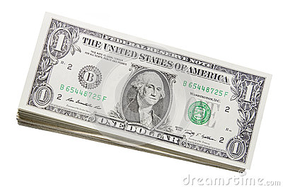Stack of US One Dollar Bills