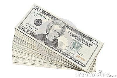Stack of US Twenty Dollar Bills Currency