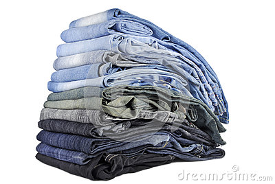 Stack of various jeans isolated