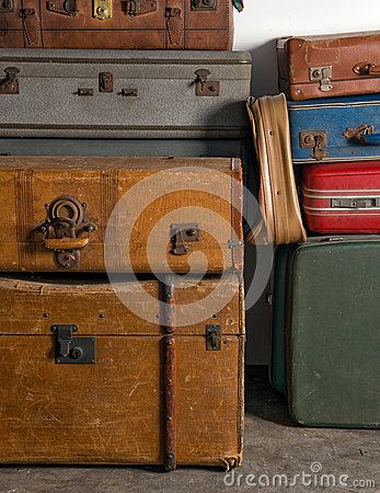 Stack of of vintage suitcases
