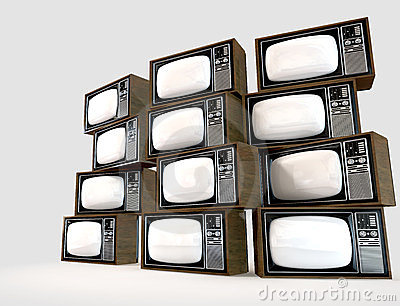 Stack Of Vintage Televisions Royalty Free Stock Images