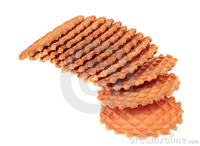 A stack of waffle cookies