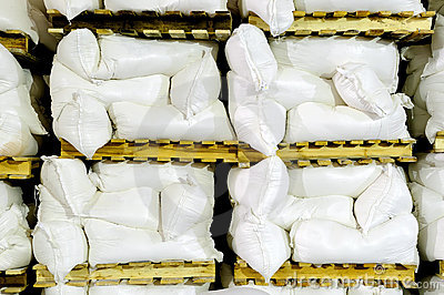 Stack of white flour in storehouse
