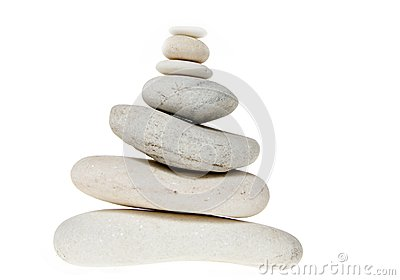 Stack of white stones balancing