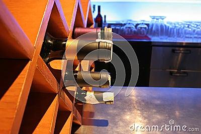 Stack of wine at bar