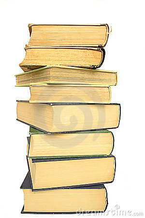 Stack of yellowed books