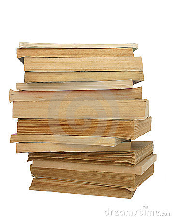 Stack of yellowed books #2