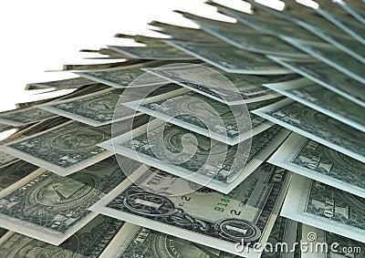 Stacked american dollar bills