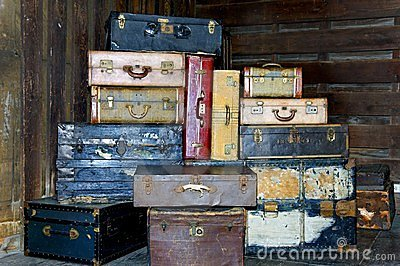 Stacked Antique Suitcases