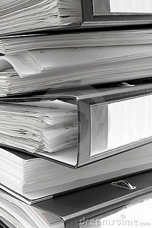 Free Stacked Black File Folders Stock Images - 1243114