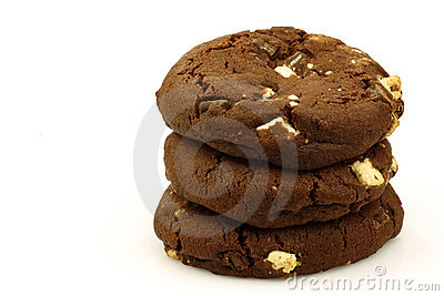 Stacked chocolate chip cookies with nuts