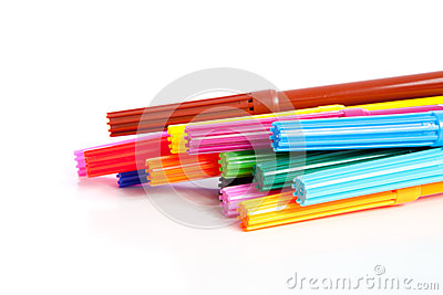 Stacked colorful markers