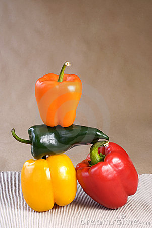 Free Stacked Colorful Peppers Stock Photography - 8336662
