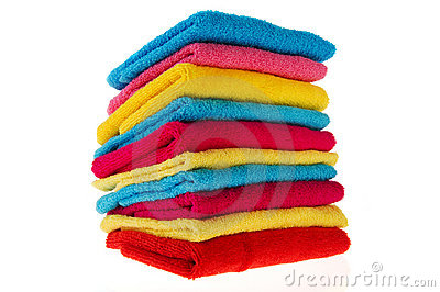 Stacked colorful towels