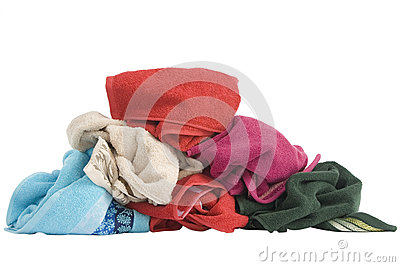 Stacked of colorful towels