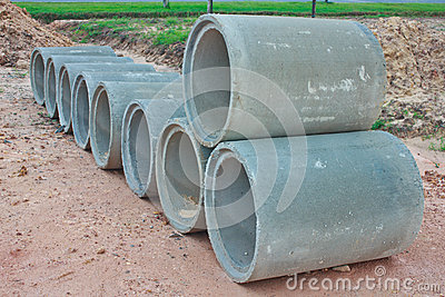 Stacked concrete drainage pipes