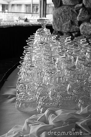 Stacked crystal wine glasses