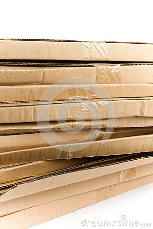 Stacked flattened card board