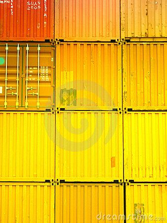 Stacked freight containers