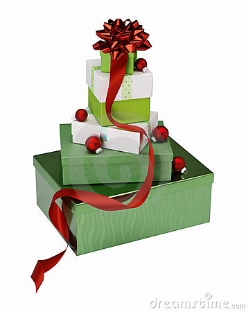 Stacked Christmas gift boxes