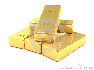Stacked golden bars